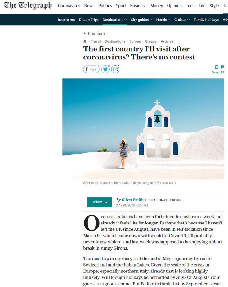 Telegraph: Ελλάδα ο πρώτος προορισμός μετά την κρίση του κορονοϊού