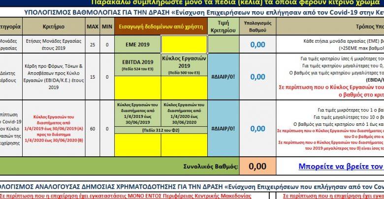 Χρήσιμο Υπόδειγμα υπολογισμού για το πρόγραμμα Ενίσχυσης Επιχειρήσεων από το Επιμελητήριο Πιερίας